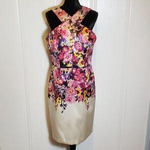 David Meister Floral Cross Strap Halter Dress